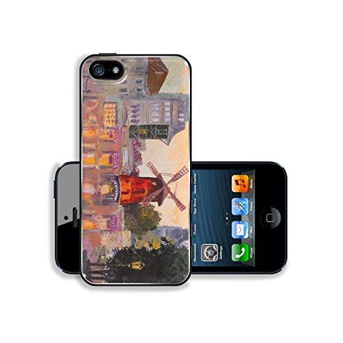 (Luxlady Premium Apple iPhone 5 iphone 5S Aluminium Snap Case IMAGE 38274024 Oil painting cityscape Moulin rouge Paris France colorful art)