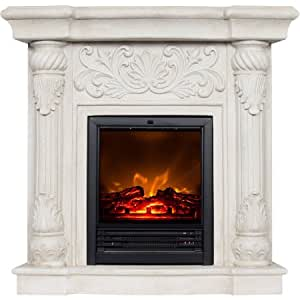 Polyfiber Electric Fireplace With 41 Mantle Home Kitchen