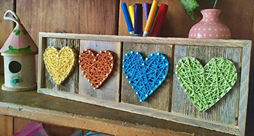 Yellow, orange, turquoise and green heart sign. Perfect Valentine s Day gift for the kids or nursery or children s room decoration. String art heart gifts for someone special by Nail it Art.