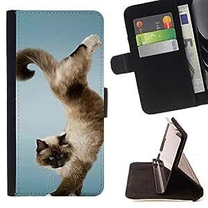 Jordan Colourful Shop - Funny Beautiful Cat Trick For LG OPTIMUS L90 - < Leather Case Absorci????n cubierta de la caja de alto impacto > -