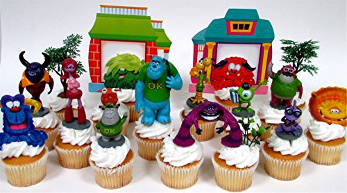 College Bound MONSTERS UNIVERSITY 16 Piece Birthday CUPCAKE Topper Set Featuring 9 Monsters University Figures and Decorative Themed Accessories - Figures Average 2