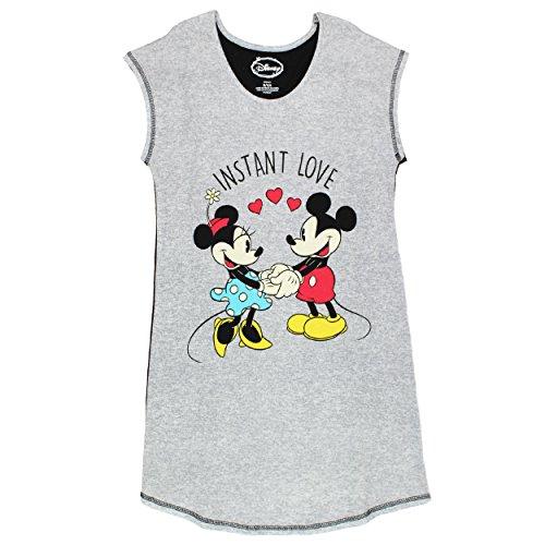 Disney Women's Mickey and Minnie Mouse Sleep Shirt, Gray, L -