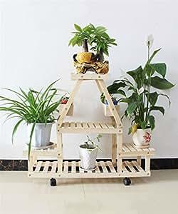 QD Huajia HYNH Movible de Madera Maciza Flor Rack Multi-Capa Flowerpot Rack Bonsai Marco con Ruedas Sala De Estar con Balcón Flor Plataforma Estantería en Maceta Creativa Cremallera (Color : B)