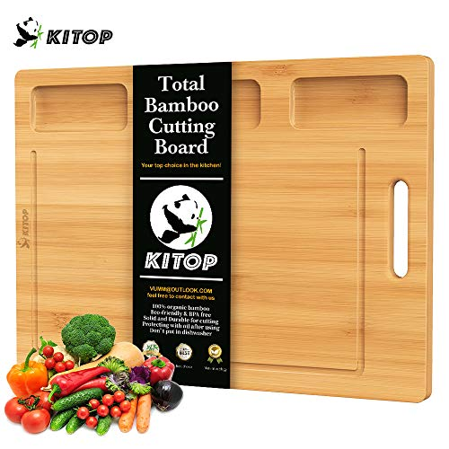Bamboo Cutting Board for kitchen, Serving Tray with 3 Built-in Compartments And Deep Juice Grooves, Extra thick and Large Planks with 3 Dividers Storages for Fresh Fruit Vegetables and Meat