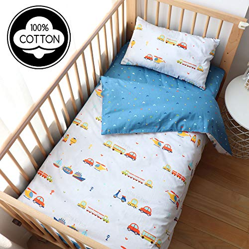 100% Cotton Crib Bedding Set for Toddler Boys Girls,3Pcs Include Duvet Cover,Fitted Sheet,Pillowcase, Baby Bed Linen,Nursery Decoration (Car)