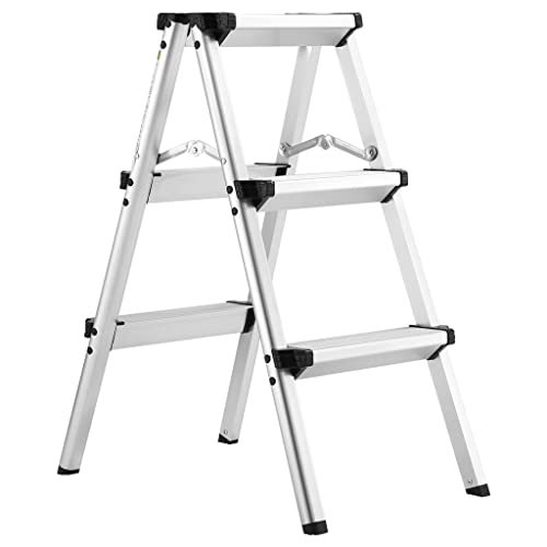 Finether Folding 3-Step Ladder, Aluminum Double sided Step Stool with 330 lbs Capacity,for Kitchen,Office,Garden