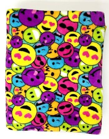Bunk Junk Fleece Rainbow Emoji Fuzzies Blanket for Home, Sleep Away, Travel, Camp, Sleepaway Camp