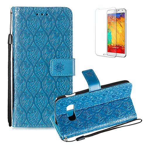 Cool Rattan Cover (For Samsung Galaxy S10E PU Leather Wallet Case [Free Screen Protector],Magnetic Flip with Cards Slot Cash Pockets Embossed Rattan Flowers Pattern Soft Silicone Cover for Samsung Galaxy S10E,Blue)