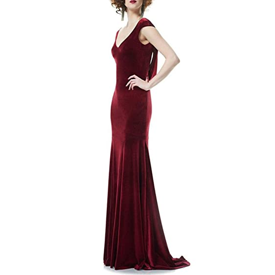 TAOST Burgundy Mermaid Evening Dress Long Women Velvet Prom Dresses (Burgundy,2)