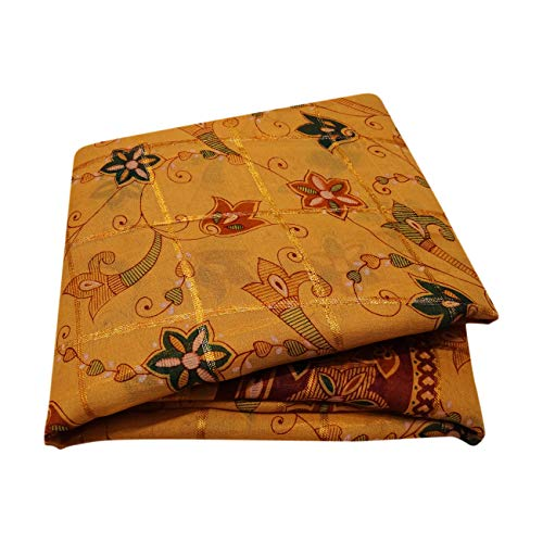 Peegli Indian Women Saree Orange Floral Design Traditional Wear Vintage Ethnic Sari Georgette Silk DIY Used Fabric 5 YD