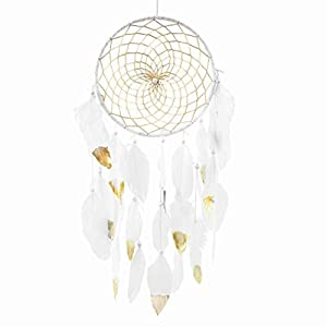 "CHICIEVE Handmade Dream Catchers,White and Gold Feather Decoration for Christmas Wedding Party- Diameter 7.9"" Length 27~29"""