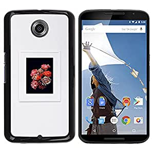 YOYOYO Smartphone Protección Defender Duro Negro Funda Imagen Diseño Carcasa Tapa Case Skin Cover Para Motorola NEXUS 6 X Moto X Pro - flores pétalo ramo marco gris negro