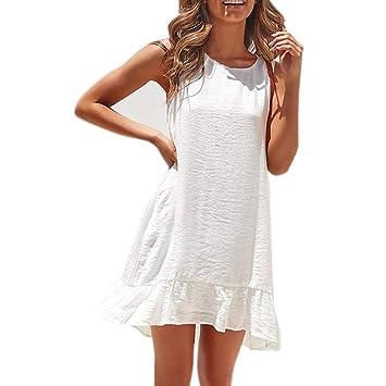 Go First Señoras del Verano del Color Sólido Vestido Transpirable ...