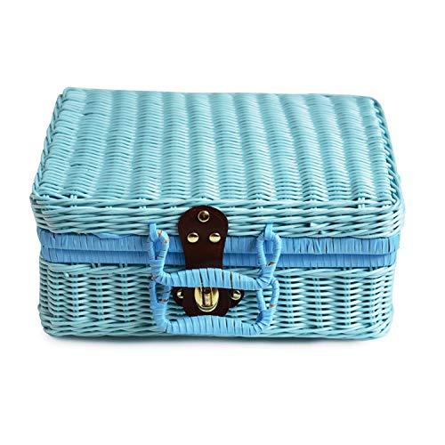 Imitation Rattan Storage Basket Handmade Woven Handbag Vintage Wicker Picnic Suitcase Jewelry Holder Travel Storage Box,26X16X10CM,Blue (Cheap Baskets Singapore Rattan)