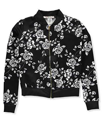 """Price comparison product image Boho Girlz Baby Girls' """"Flower Power"""" Flight Jacket - black, 10-12"""