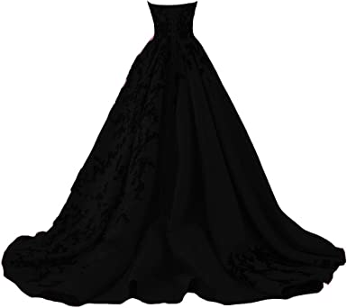 Kivary Gothic Black Satin Lace V Neck A Line Long Prom Corset Wedding Dresses