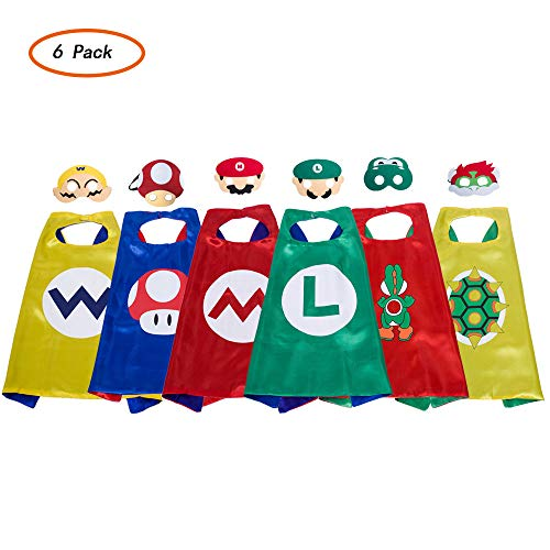 Super Mario Cape And Mask Set Costume Kids Birthday Party Supplies Superhero Style Cosplay Costumes And Halloween Gift (Super Mario Run Android Release Date 2017)