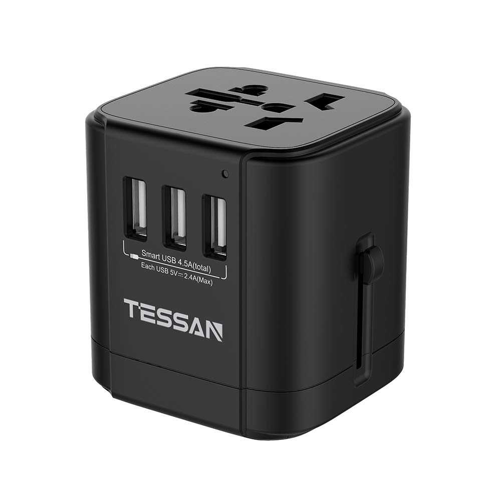 Universal Travel Power Adapter with 3 USB 4.5 A Worldwide International Plug Adapter Charger for US/Europe/Italy/UK/France/China/Australia iPhone laptop Tablet (Black)