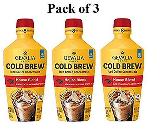 Gevalia Cold Brew House Blend Iced Coffee Concentrate, Pack of 3 x 32 Fl Oz.