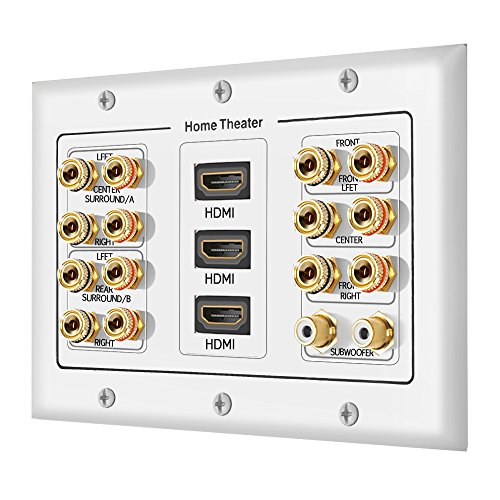 [3-Gang 7.2 Surround Sound Distribution] Home Theater Copper Banana Binding Post Coupler Type Wall Plated for 7 Speakers, 2 RCA Jacks for Subwoofers & 3 HDMI Ports - Hdmi And Speaker Wall Plate