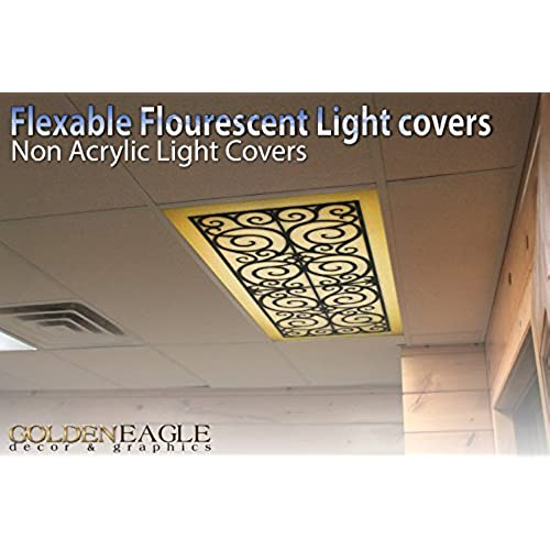 Fluorescent light fixture covers replacement amazon wrought iron 2ft x 4ft drop ceiling fluorescent decorative ceiling light cover skylight film aloadofball Images