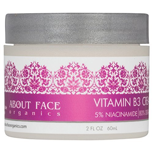 Vitamin B3 Cream 5% Niacinamide by About Face Organics | 80% Organic Vitamin B For Face | Paraben & Cruelty Free | 2 Oz