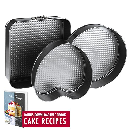 Springform Pan Baking Pans, Set of 3 Pcs Non-Stick Leakproof Cake Pans, Carbon Coated Steel Cheesecake Pan with Removable Bottom and Quick-Release with 10 Square 10 Round 9 Heart Shaped Cake Pan