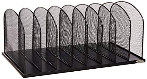 Safco Products Onyx Mesh 8 Sort Vertical Desktop Organizer 3253BL, Black Powder Coat Finish, Durable Steel Mesh Construction, Eco-Friendly (Renewed)