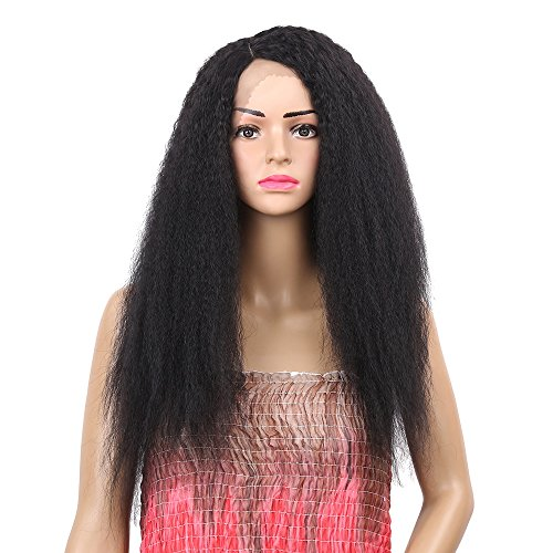 Price comparison product image ShakeLady Women Synthetic Lace Front Wigs for Black Women Brazilian Female Side Parting Curly Long Black Fluffy Human Hair Wig 24""