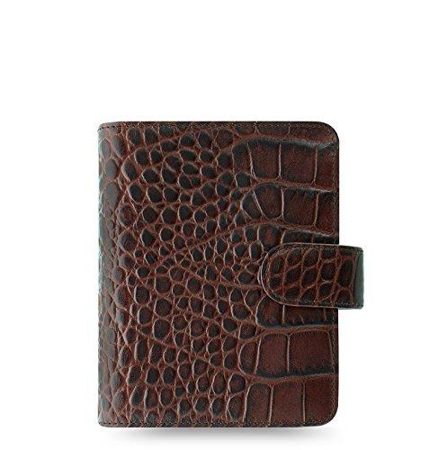 "Filofax Classic Croc Print Leather Organizer Agenda Calendar with DiLoro Jot Pad Refills (Pocket 3 1/4""x4 3/4"" Paper Size, Chestnut 2019)"