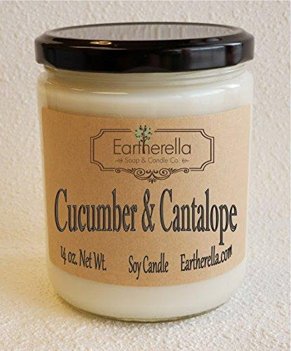 Natural Soy Wax 14 oz. Jar Candle,90+ hours, cantaloupe, fruit, sweet ()