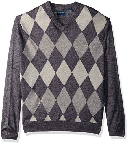 Dockers Men's Soft Acrylic V-Neck Long Sleeve Sweater, Argyle Pembroke, X-Large