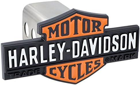 Harley-Davidson 3D Black /& Orange Bar /& Shield Trailer Hitch Cover Plug
