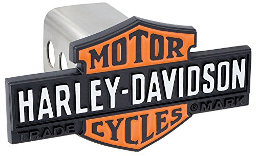 (Harley-Davidson 3D Black & Orange Bar & Shield Trailer Hitch Cover Plug)