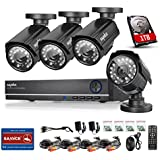 Sannce 8CH Full 960H Security DVR & 1TB Hard Drive Home Security System + 4 HD CCTV Bullet Cameras, 800TVL High Resolution IP66 Weatherproof, Day/Night IR-Cut Built-in