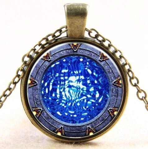 Atlantis Sea Wave Moonlight Time Glass Pendant Necklace -My#21F