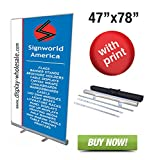 Signworld 47'' Retractable Roll up banner stands + vinyl print