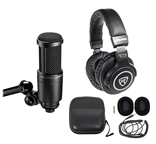 Audio Technica AT2020 Studio Microphone-Cardioid Condenser Mic + Headphones - Audio Technica At2020 Studio Condenser