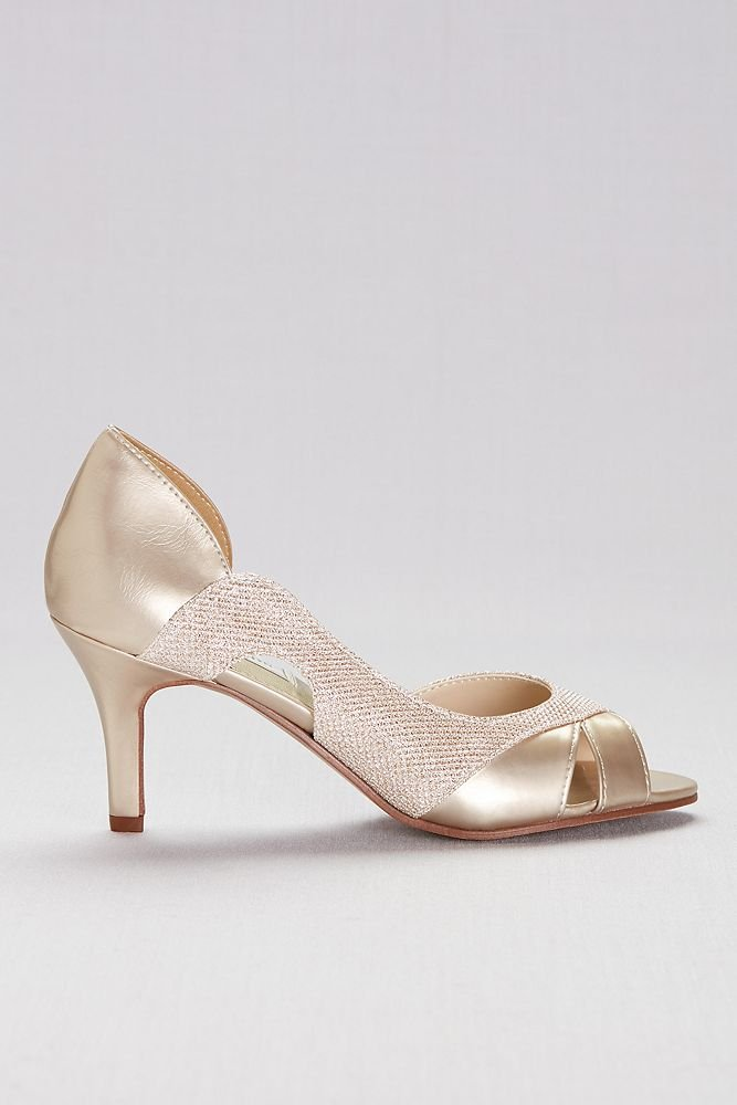 David's Bridal Metallic D Orsay Heels with Metallic Fabric Inset Style Charlie, Pewter, 10 by David's Bridal (Image #3)