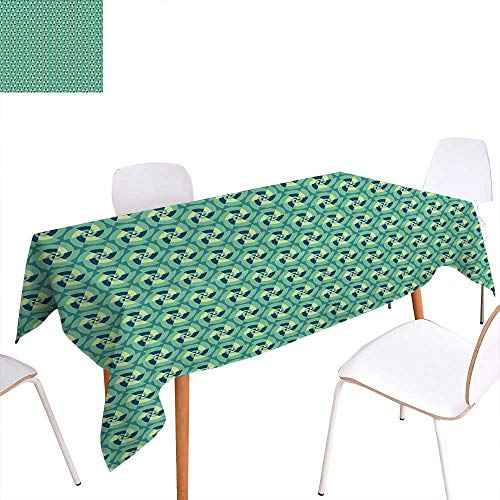 familytaste Geometric Washable Tablecloth Retro Revival with Optical Illusion Elements Circles Repeating Motifs Waterproof Tablecloths 52