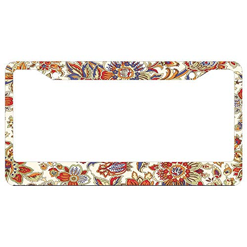 Vintage Batik Floral Pattern License Plate Frame for Women/Girls Novelty Auto Accessory - 2 Holes with Screw Caps Car License Plate Cover for US Vehicles