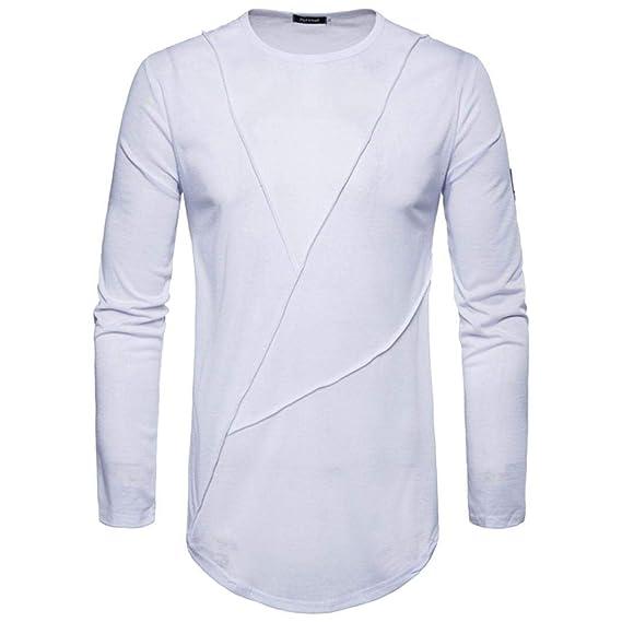 Camisetas para Hombre de Casual de Manga Larga de Color sólido para Hombre de Moda del