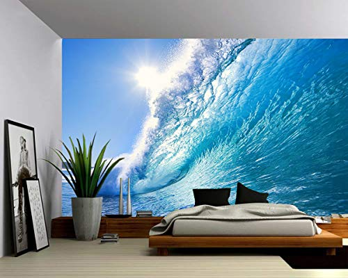 Picture Sensations Canvas Texture Wall Mural, Seascape Ocean Wave, Self-Adhesive Vinyl Wallpaper, Peel & Stick Fabric Wall Decal - 144x96