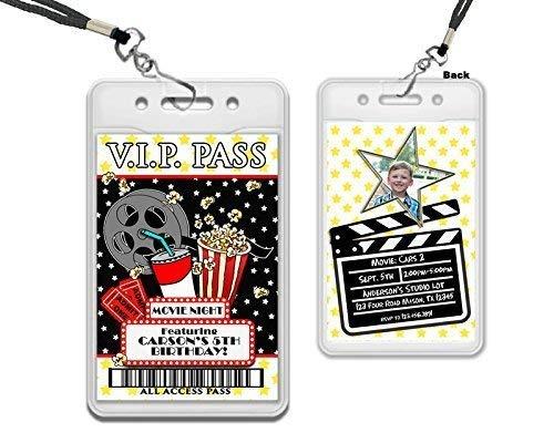 Amazon Com Movie Night Vip Pass Lanyard Birthday Invitations Star