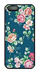 CustomPC Black Protective Case Cover for iPhone 4sG,Retro Rose Floral Pattern Case Shell for iPhone 4s Generation