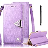 Bonice for Samsung Galaxy S4 Luxury Premium PU leather Wallet Case Bling Glitter Book Style [Wrist Strap] Phone Case Magnetic Closure Flip Stand Anti-scratch Cover Skin + Metal Stylus Pen - Purple