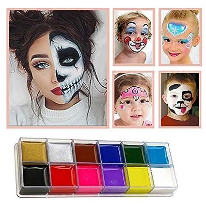Set De Pintura Facial Para Ninos Kit De 12 Colores Con 2 Pinceles