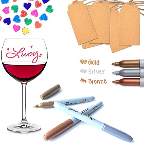 DecoVin Premium Quality Wine Glass Paint Markers- Complete Set of 3 Markers, Heart Sticker & Wine Tag- Make Your Special Events Memorable Once & Forever- Suitable For Many Surfaces- Easily Erasable (Wine Glass Writing Pens)