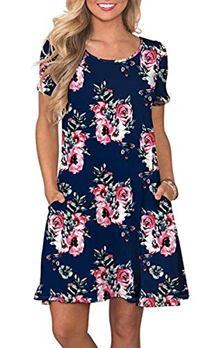 Womens Summer Floral Printed T Shirt Dress Casual Short Sleeve Swing Tunic Dress with Pockets