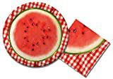 Watermelon Check Lunch Napkins & Dinner Plates Party Kit for 8